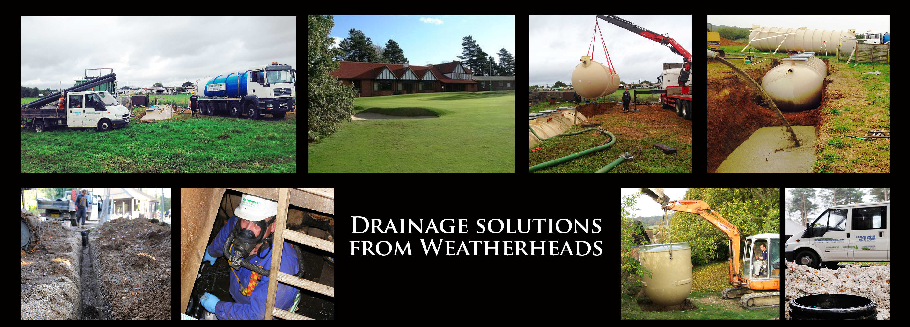 Montage of p;ics showing Weatherhead Drainage projects including a septic tank installation and drainage at a golf course